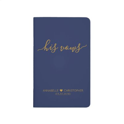 Personalized Wedding His Vows Book Navy Blue Gold