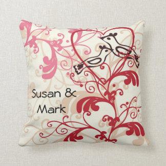 Personalized Wedding Love Birds Throw Pillow