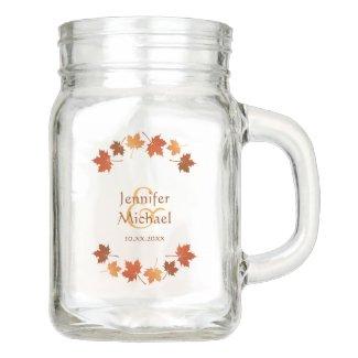 personalized wedding mason jar mug maple leaves