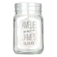 Personalized Wedding Mason Jar | Rustic Monogram at Zazzle
