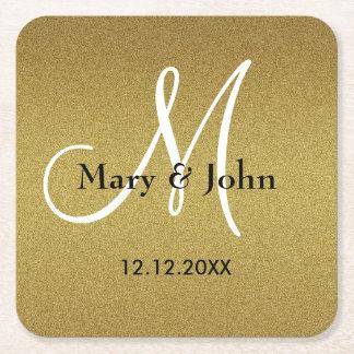 Personalized Wedding Monogram Glitter Gold Square Paper Coaster
