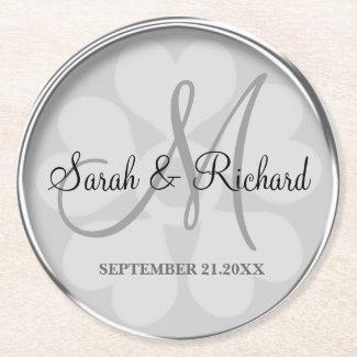 Personalized Wedding Monogram Stylish Silver Round Paper Coaster