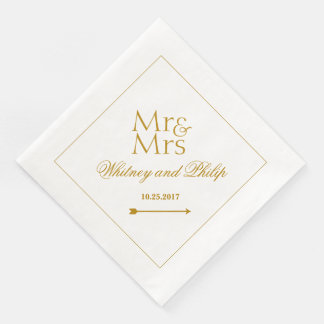 Personalized Wedding Mr Mrs Gold Paper Dinner Napkin