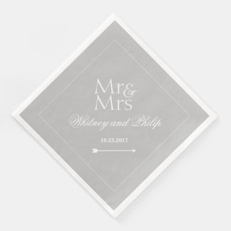 Personalized Wedding Mr Mrs Silver Paper Dinner Napkin