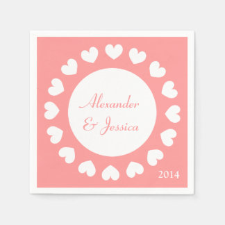 Personalized wedding napkins | coral with hearts disposable napkins