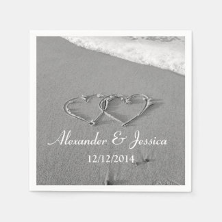 Personalized wedding napkins | drawn heart in sand disposable napkins