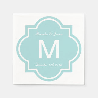 Personalized wedding napkins | Teal quatrefoil