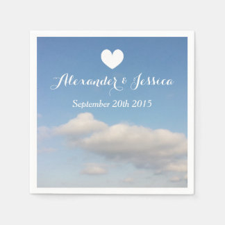 Personalized wedding napkins | white clouds sky