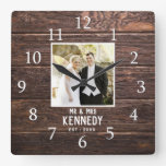 Personalized Wedding Photo Anniversary Brown Wood Square Wall Clock