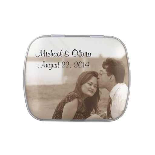 Personalized Wedding Photo Candy Favors Tin Jelly Belly Candy Tin