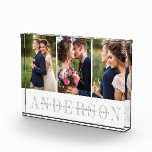"""Personalized Wedding Photo Collage Block<br><div class=""""desc"""">Elegant wedding photo collage block features three favorite wedding photos aligned side by side. Your surname or family name appears beneath in chic grey with your names and wedding date overlaid on a transparent white stripe.</div>"""