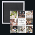 """Personalized Wedding Photo Collage Magnet<br><div class=""""desc"""">Personalize with your eight favourite wedding photos,  name and special date to create a unique photo collage,  memory and gift. A lovely keepsake to treasure! Designed by Thisisnotme©</div>"""