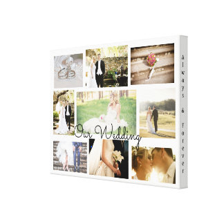 Personalized Wedding Photo Collage Wall Art White