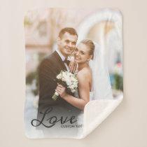 Personalized Wedding Photo Custom Love Script Text Sherpa Blanket