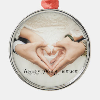 Personalized Wedding Photo Forever & Always Round Metal Christmas Ornament