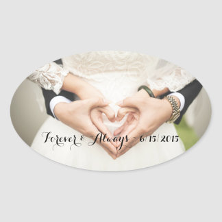Personalized Wedding Photo Forever & Always Oval Sticker