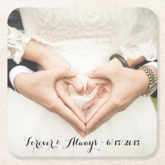 Personalized Wedding Photo Forever & Always Square Paper Coaster