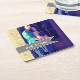 Personalized Wedding Photo Gray Modern Tag Square Paper Coaster