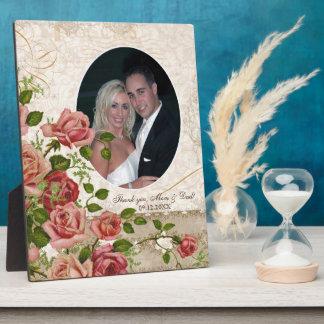 Personalized Wedding Photo Trellis Rose Vintage Plaques