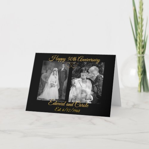 Personalized Wedding Photos 50th Anniversary Card