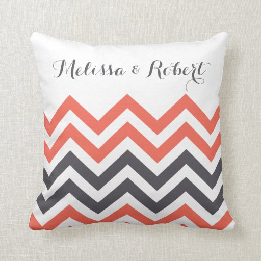 Personalized Wedding Pillows | Chevron Stripes