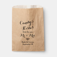 Personalized Wedding Popcorn or Candy Bar Buffet Favor Bag