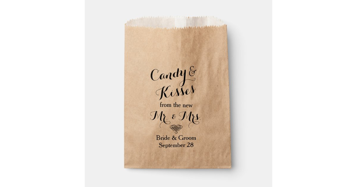 Personalized Wedding Popcorn Or Candy Bar Buffet Favor Bag Zazzle