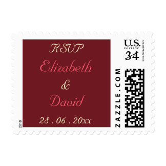 Personalized Wedding RSVP Postcard Postage Stamp