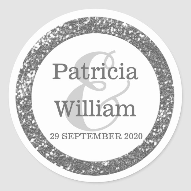 Personalized Wedding Seals | Silver Gray Glitter Classic Round Sticker