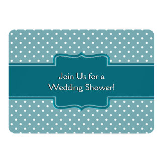 Personalized Wedding Shower Teal Polka Dots Invites