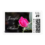 Personalized Wedding Stamp, Pink Rose w/ Names