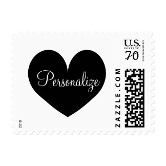 Personalized wedding stamps with black heart