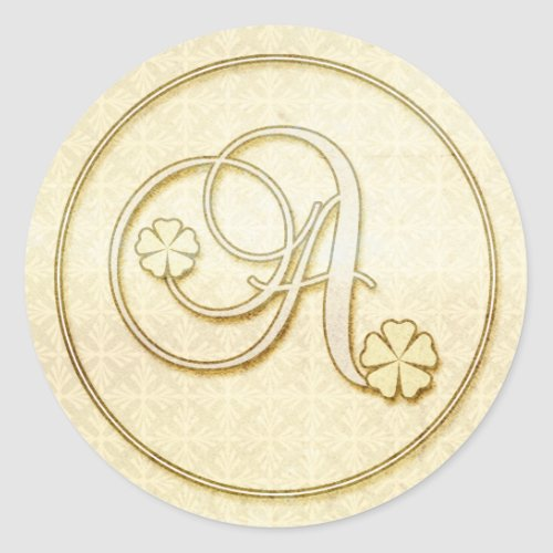 Personalized Wedding Stickers :Initial Monogram A
