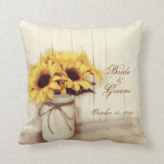 Personalized Wedding Sunflowers Mason Jar Pillow