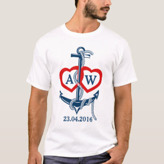Personalized wedding t-shirt Nautical anchor
