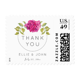 Personalized Wedding Thank You Hot Pink Hydrangea Postage