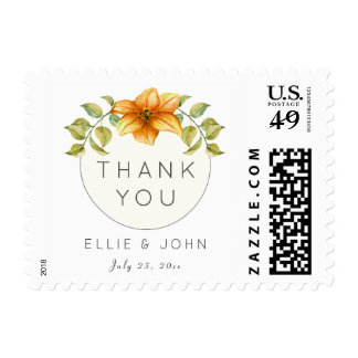 Personalized Wedding Thank You Watercolor Bouquet Postage