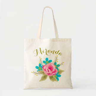 Personalized wedding tote bag with floral print