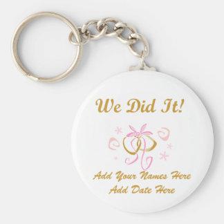 Personalized Wedding We Did It Keychain