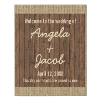Personalized Wedding Welcome Rustic Burlap Wood Faux Canvas Print