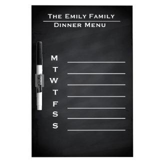 Personalized Weekly Dinner Menu Blackboard Chalk