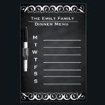 """Personalized Weekly Dinner Menu Blackboard Chalk<br><div class=""""desc"""">It is an old fashioned chalk board style weekly dinner planner. Use with a dry-erase white marker or white dry-erase crayon,  and enjoy your dry erase chalk board dinner menu! This is Personalized Dry Erase Blackboard Chalkboard for your family Weekly Dinner Menu.</div>"""