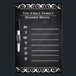 "Personalized Weekly Dinner Menu Blackboard Chalk<br><div class=""desc"">It is an old fashioned chalk board style weekly dinner planner. Use with a dry-erase white marker or white dry-erase crayon,  and enjoy your dry erase chalk board dinner menu! This is Personalized Dry Erase Blackboard Chalkboard for your family Weekly Dinner Menu.</div>"