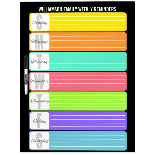 Personalized Weekly Reminder Dry-Erase Whiteboards