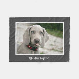 Personalized Weimaraner Dog Photo and Dog Name Fleece Blanket