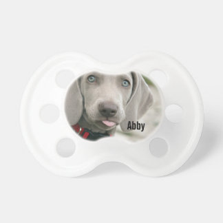 Personalized Weimaraner Dog Photo and Dog Name Pacifier