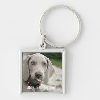 Personalized Weimaraner Dog Photo and Dog Name Silver-Colored Square Keychain