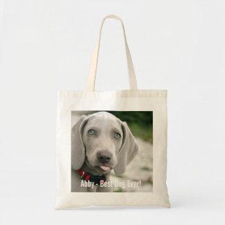Personalized Weimaraner Dog Photo and Dog Name Tote Bag