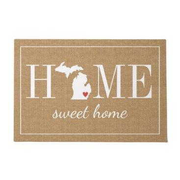 hacheu Personalized Welcome Home Michigan Jute Doormat