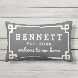 "Personalized Welcome Pillow | Charcoal Gray<br><div class=""desc"">Stylish outdoor pillow design features a Greek key style decorative frame with modern soft white custom family name,  established year,  and &#39;welcome to our home&#39; text. The charcoal gray background color can be customized to coordinate with your home and porch decor.</div>"